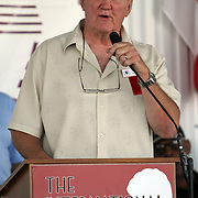 """Chuck Wepner, the real """"Rocky"""", speaks to fans during the 23rd Annual induction weekend opening ceremony at the International Boxing Hall of Fame on Thursday, June 7, 2012 in Canastota, NY. (AP Photo/Alex Menendez)"""