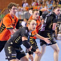 02-06-2011 HANDBAL: BEKERFINALE HURRY UP - O EN E: ALMERE<br /> (L-R) Bernard Broekmann, Leon van Schie, Ronald Suelmann, Niek Kuik<br /> ©2011-FotoHoogendoorn.nl / Peter Schalk