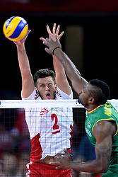 06.09.2014, Jahrhunderthalle, Breslau, POL, FIVB WM, Kamerun vs Polen, Gruppe A, im Bild MICHAL WINIARSKI (L), // during the FIVB Volleyball Men's World Championships Pool A Match beween Cameroon and Poland at the Jahrhunderthalle in Breslau, Poland on 2014/09/06. <br /> <br /> ***NETHERLANDS ONLY***