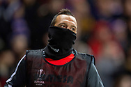 Santi Cazorla (#19) of Villarreal CF wraps up against the Scottish weather during the Europa League group stage match between Rangers FC and Villareal CF at Ibrox, Glasgow, Scotland on 29 November 2018.