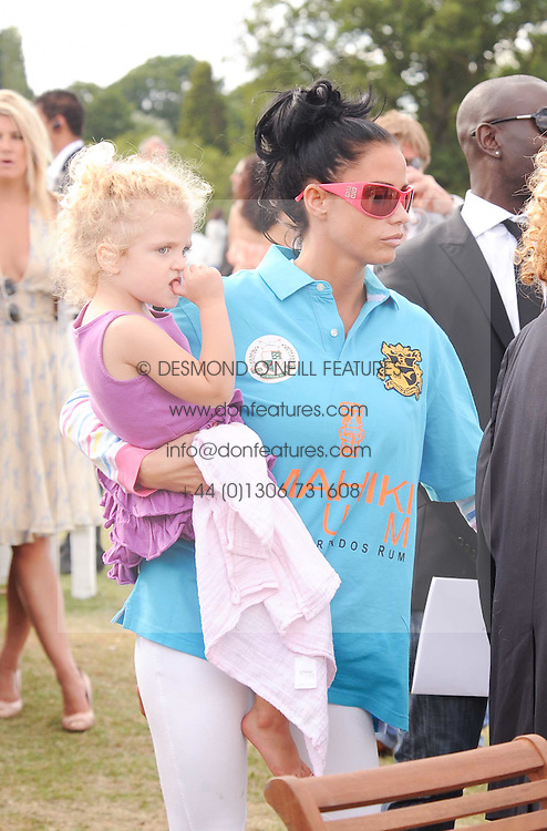 Asprey World Class Cup polo held at Hurtwood Park Polo Club, Ewhurst, Surrey on 17th July 2010.<br /> Picture shows:- KATIE PRICE and her daughter Princess Tiaamii Crystal Esther Andre