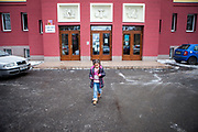 Esther Kroscenova (6) leaving the ZS Chrustova elementary school after an enrollment examination (test) with a received little present. Esther should be a first class pupil in the school year 2016/2017 in a mainstream school in the city of Ostrava, where Roma and non Roma children are educated together.