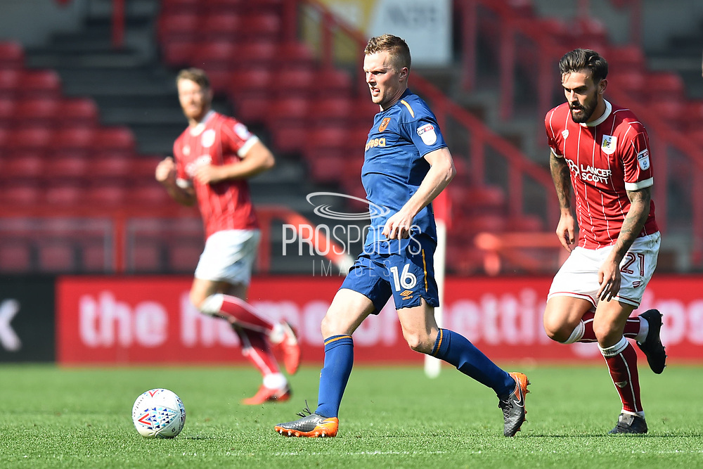 Sebastian Larsson (16) of Hull City during the EFL Sky Bet Championship match between Bristol City and Hull City at Ashton Gate, Bristol, England on 21 April 2018. Picture by Graham Hunt.