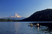 Image of guys rowing on Lost Lake near Mount Hood, Oregon, Pacific Northwest, model released by Randy Wells