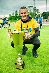 Almin Kurtovic during celebration of NK Bravo, winning team in 2nd Slovenian Football League in season 2018/19 after they qualified to Prva Liga, on May 26th, 2019, in Stadium ZAK, Ljubljana, Slovenia. Photo by Vid Ponikvar / Sportida