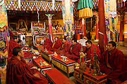 Buddhist monks sit inside a monastery in the Tibetan Plateau.