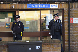 © Licensed to London News Pictures. 19/12/2018. London UK: Police have closed a doctors surgery in St Stephens road, Bow in east London after three people were stabbed at the practice at around 11 am this morning. Police arrested a man nearby and he is helping them with their investigation , Photo credit: Steve Poston/LNP