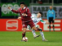 Fotball , 18. mars 2010<br /> Europa League <br /> VFL Wolfsburg - Rubin Kasan<br /> v.l. Christian Noboa , Sascha Riether Wolfsburg<br />  <br /> Norway only