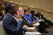 Purchase, NY – 31 October 2014. Judges watching the Peekskill High School presentaiton. The Business Skills Olympics was founded by the African American Men of Westchester, is sponsored and facilitated by Morgan Stanley, and is open to high school teams in Westchester County.
