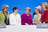 26 FEB 2018, BERLIN/GERMANY:<br /> Monika Gruetters, CDU, Staatsministerin im Bundeskanzleramt, Annegret Kramp-Karrenbauer, CDU, desig. Generalsekretaerin, Angela Merkel, CDU, Bundeskanzlerin, Ursula von der Leyen, CDU, Bundesverteidigungsministerin, und Julia Kloeckner, CDU Landesvorsitzende Rheinland-Pfalz, (v.L.n.R.), CDU Bundesparteitag, Station Berlin<br /> IMAGE: 20180226-01-158<br /> KEYWORDS: Party Congress, Parteitag, Monika Grütters, Julia Klöckner