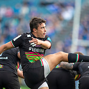 DUBLIN, IRELAND:  October 9:   Nicholas Casilio #9 of Zebre kicks down field during the Leinster V Zebre, United Rugby Championship match at RDS Arena on October 9th, 2021 in Dublin, Ireland. (Photo by Tim Clayton/Corbis via Getty Images)