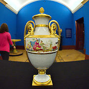 LONDON, ENGLAND - MAY 22:  A  mounted vase part of the Sevres Royal Collection ahead  of  the exhibitionthat will open May 23rd. This vase purcased by HM the Queen is part of a group of three originally purchased by Marie Antoniette.On May 22, 2009 in London, England.  (Photo by Marco Secchi/Getty Images)