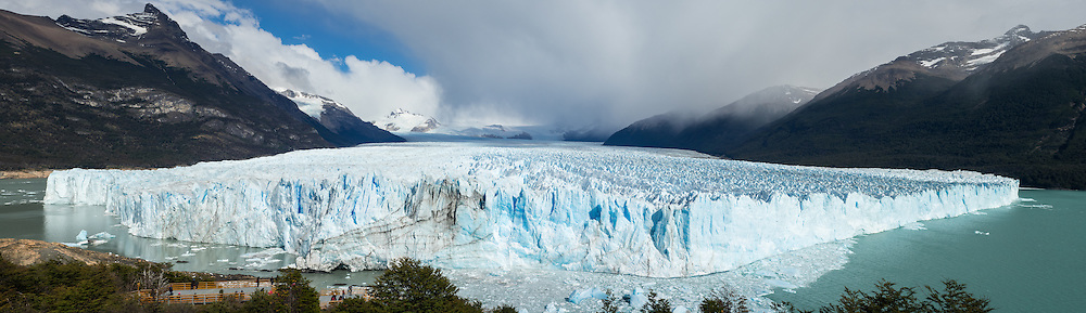 The Perito Moreno Glacier located in Los Glaciares National Park, the Patagonia region of Argentina.The terminus is 3 miles (5 km) wide and height of 240 feet (74 m) above Lago Argentino.<br /> The glacier pushes toward the land here creating a dam between two section of Largo Argentino. Eventually the water level builds up and evntually ruptures.
