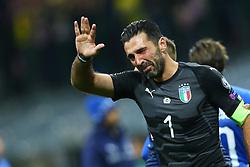 November 13, 2017 - Milan, Italy - FIFA World Cup Qualifiers play-off Switzerland v Northern Ireland.Gianluigi Buffon of Italy crying at the end of at San Siro Stadium in Milan, Italy on November 13, 2017. (Credit Image: © Matteo Ciambelli/NurPhoto via ZUMA Press)