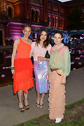 Left to right, TIPHAINE DE LUSSY, LAUREN KEMP and DAISY BATES at the V&A Summer Party in association with Harrod's held at The V&A Museum, London on 22nd June 2016.