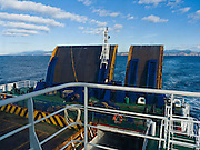 Bluebridge Ferry departs South Island, New Zealand, transporting cars and people through Cook Strait, South Pacific Ocean.