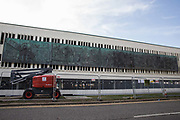 The William Mitchell Mural, taken down in 2015 before the Crossway precinct was demolished to make way for The Lexicon shopping centre, is pictured at its new location on the exterior of Braccan Walk car park on 18 September 2020 in Bracknell, United Kingdom. The 30m fibreglass and bronze mural depicts events from Bracknell's history and was commissioned by the Bracknell Development Corporation in the 1960s to mark the 25th anniversary of Bracknell having been designated a new town in 1949.