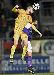 January 10, 2018 - Tubize, BELGIUM - Tubize's Shean Garlito and Beerschot's Hernan Losada fight for the ball during a soccer game between AFC Tubize and Beerschot-Wilrijk, in Tubize, Wednesday 10 January 2018, on day 19 of the division 1B Proximus League competition of the Belgian soccer championship. The game was postponed because of bad weather conditions on December 10th. BELGA PHOTO JOHN THYS (Credit Image: © John Thys/Belga via ZUMA Press)