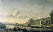 View of the Seine and the Gallery of the Louvre' c1650. Reiner Nooms, called Zeeman (c1623-1664) Dutch painter. View across the river with water traffic towards the Louvre, Paris.