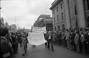 Sinn Fein (Provo) Dublin Parade.   K22..1976..25.04.1976..04.25.1976..25th April 1976..Sinn Fein held an Easter Rising Commemorative  parade..The parade started at St Stephens Green, Dublin and proceeded through the streets to the G.P.O.in O'Connell Street, the scene of the centre of the 1916 uprising..Image of Sinn Fein members from Waterford (Port Lairge) taking part in the parade.