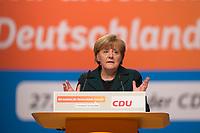 09 DEC 2014, KOELN/GERMANY:<br /> Angela Merkel, CDU, Bundeskanzlerin, haelt ihre Rede als Parteivorsitzende der CDU, CDU Bundesparteitag, Messe Koeln<br /> IMAGE: 20141209-01-028<br /> KEYWORDS: Party Congress