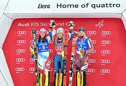 28.12.2017, Hochstein, Lienz, AUT, FIS Weltcup Ski Alpin, Lienz, Slalom, Damen, Flower Zeremonie, im Bild Wendy Holdener (SUI)Mikaela Shiffrin (USA)Frida Hansdotter (SWE) // Wendy Holdener of SwitzerlandMikaela Shiffrin of the USAFrida Hansdotter of Sweden during the Flowers ceremony for the ladie's Slalom of FIS Ski Alpine World Cup at the Hochstein in Lienz, Austria on 2017/12/28. EXPA Pictures © 2017, PhotoCredit: EXPA/ Erich Spiess