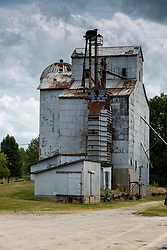 Old abandoned grain processing and storage facility (grain elevator) in Waynesville Illinois
