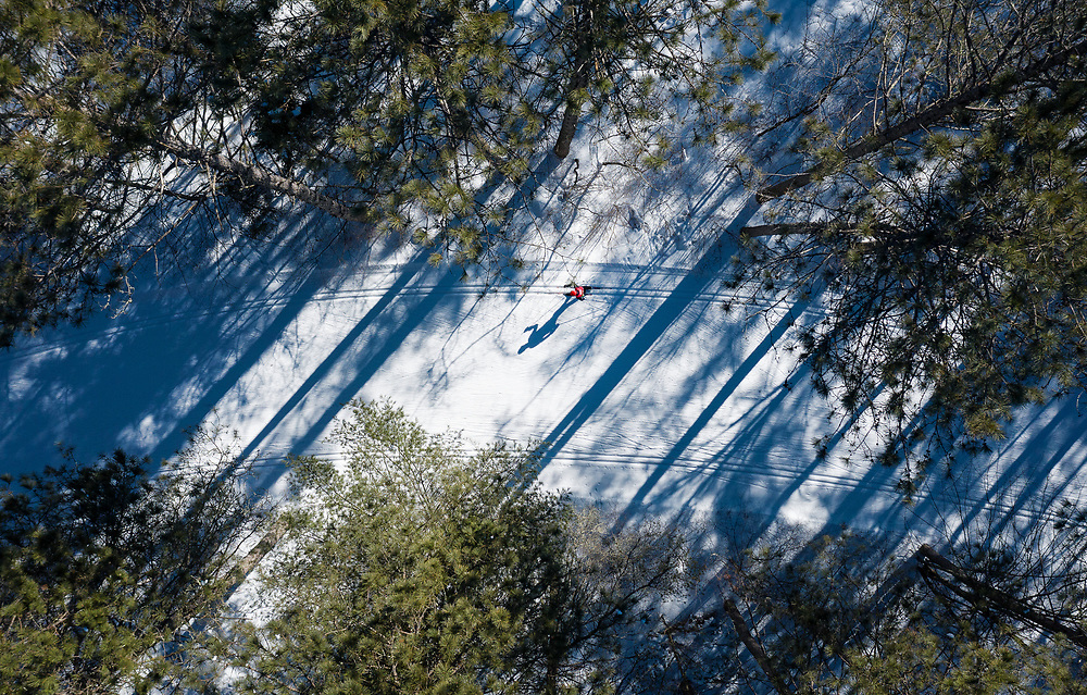 """Ernie St. Germain competes in the """"virtual"""" 2021 Birkebeiner International Ski Race, his 47th time skiing the race, in Hayward, Wisconsin, on Saturday, Feb. 20, 2021."""