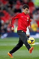 Shinji Kagawa of Manchester United warms up  before during the Barclays premiership match, Manchester united v West Ham,  Old Trafford, Manchester, UK