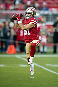 San Francisco 49ers wide receiver Trent Taylor (81) leaps and catches a pass during pregame warmups before the 2018 NFL preseason week 4 football game against the Los Angeles Chargers on Thursday, Aug. 30, 2018 in Santa Clara, Calif. The Chargers won the game 23-21. (©Paul Anthony Spinelli)