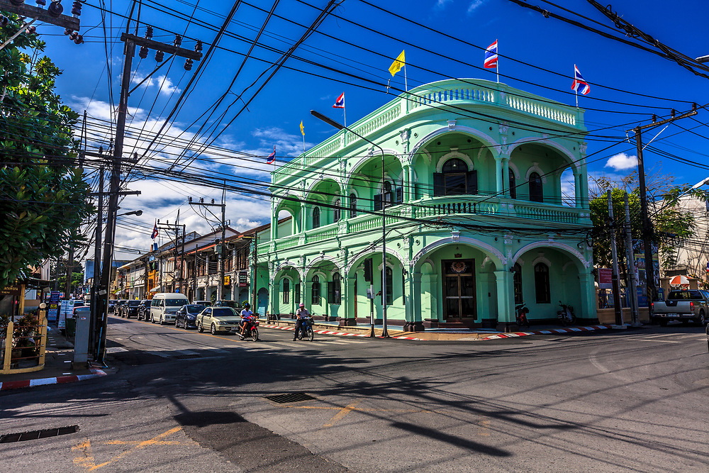 A building representing the Sino-Portuguese architecture in Phuket Town, Thailand. The beginning of the tin boom in the 19th century led to the construction of many exquisite mansions and shops that are still well preserved. The architectural style, typical of the region, is described as Sino-Portuguese and has a strongly Mediterranean character.