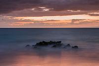 High tide at dusk at Makena Beach in Maui, Hawaii.