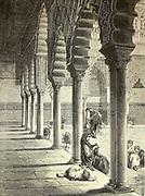 Grand patio de l'Alcazar de Séville [Grand patio of the Alcazar of Seville] Page illustration from the book 'L'Espagne' [Spain] by Davillier, Jean Charles, barón, 1823-1883; Doré, Gustave, 1832-1883; Published in Paris, France by Libreria Hachette, in 1874