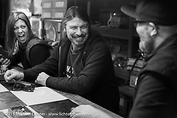 BMW Motorrad Vehicle Project Leader Roland Stocker on a visit to Animal Boat custom motorcycle shop after Mooneyes. Tokyo, Japan. December 8, 2015.  Photography ©2015 Michael Lichter.