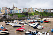 Pleasure boats - powerboats and yachts in harbour at low tide - seaside housing and town behind, Tenby, Wales, UK