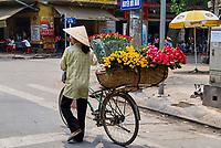 Vietnam. Hanoi. Marchande de fleurs. // Vietnam. Hanoi. Flowers seller.