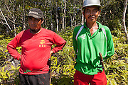 Local staff members stand for a portrait at the Arsari Lestari conservation area in Penajam Paser Utara district, East Kalimantan, Indonesia, on March 12, 2016. The plan for the Arsari Lestari conservation area is to preserve the virgin rainforest while creating value for ICTI and local people in a production-protection system that reduces emissions. <br /> (Photo: Rodrigo Ordonez)