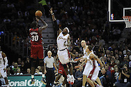 Ben Wallace #4 of Cleveland guards Earl Barron of Miami..The Miami Heat lost to the host Cleveland Cavaliers 84-76 at Quicken Loans Arena, April 13, 2008...