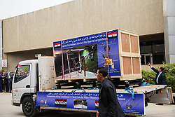 May 5, 2018 - Giza, Cairo, Egypt - Trucks carrying the last chariot of Tutankhamun arrive to the Grand Egyptian Museum (GEM), Giza, Egypt, 05 May 2018. The sixth and last chariot of Tutankhamun arrived to GEM from the military museum. The GEM will hold all the 5398 artifacts of Tutankhamun for the first time in history, which were previously on display at the Egyptian Museum in Tahrir, Luxor Museum, and the Military Museum. The Grand Egyptian Museum is located two kilometers away from the Pyramids of Giza and is expected to have a soft opening in the second half of 2018. (Credit Image: © Fayed El-Geziry/NurPhoto via ZUMA Press)