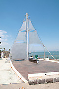 Tiberias, Israel the promenade on the shores of the Sea Of Galilee. Mother Ship Sculpture by Ilana Gur 2008