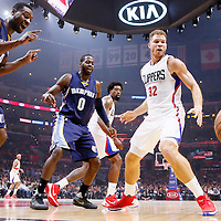 09 November 2015: Memphis Grizzlies guard Tony Allen (9), Memphis Grizzlies forward JaMychal Green (0), Los Angeles Clippers center DeAndre Jordan (6) and Los Angeles Clippers forward Blake Griffin (32) watch the loose ball during the Los Angeles Clippers 94-92 victory over the Memphis Grizzlies, at the Staples Center, in Los Angeles, California, USA.