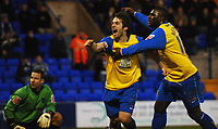 Photo: Paul Greenwood.<br />Tranmere Rovers v Hereford City. FA Cup Third Round. 05/01/2008. <br />Hereford's Ben Smith, (L) celebrates his goal
