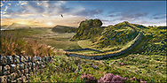 Towering Delusions -  The iconic Hadrians Wall near Houseteads Roman Fort, Vercovicium at sunset, A UNESCO World Heritage Site, Northumberland, England. By Paul Williams
