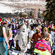Skiers gather at the on mountain Gaper Day celebration at Jackson Hole Mountain Resort.