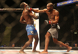 Basambombo Mutuale (Red) punches Kaleka Kabanda (Blue) during the second bout of the Extreme Fighting Championships, EFC 52 held at the Grand West Casino in Cape Town, South Africa on the 5th August 2016<br /> <br /> Photo by:   Shaun Roy / Real Time Images