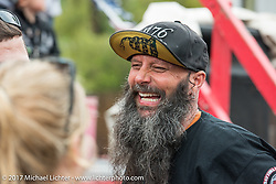 Dennis Faust of Wabash, IN having a blast at the Iron Horse Saloon for the California Hell Riders Wall of Death show during Daytona Beach Bike Week. FL. USA. Sunday March 12, 2017. Photography ©2017 Michael Lichter.