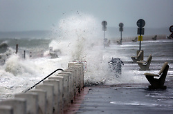 13 Jan 2017. Le Crotoy, Picardie, France.<br /> A fierce winter storm pushes the tide over the surge barrier on the Promenade Jules Noiret in the Bai Somme.<br /> Photo©; Charlie Varley/varleypix.com