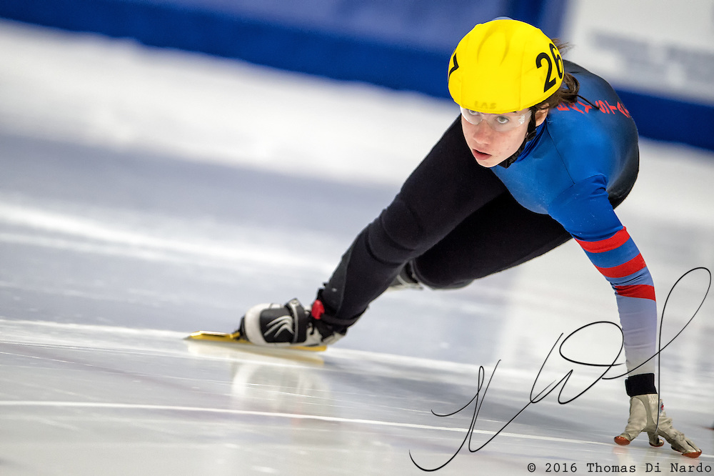 March 20, 2016 - Verona, WI - Julie Letai, skater number 267 competes in US Speedskating Short Track Age Group Nationals and AmCup Final held at the Verona Ice Arena.