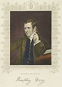Humphry Davy (1778-1829) Hand-coloured engraving after portrait by James Lonsdale published 1830