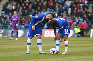 Gillingham defender Max Ehmer has a word with Gillingham midfielder Bradley Dack during the Sky Bet League 1 match between Gillingham and Shrewsbury Town at the MEMS Priestfield Stadium, Gillingham, England on 23 April 2016. Photo by Martin Cole.